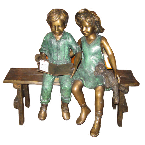 Bronze Kids on Bench